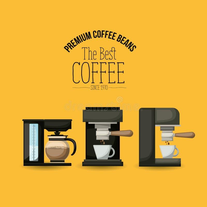 Färga affischen av högvärdiga kaffebönor av det bästa kaffet efter 1970 med uppsättningcoffetillverkaren och espressomaskinen stock illustrationer