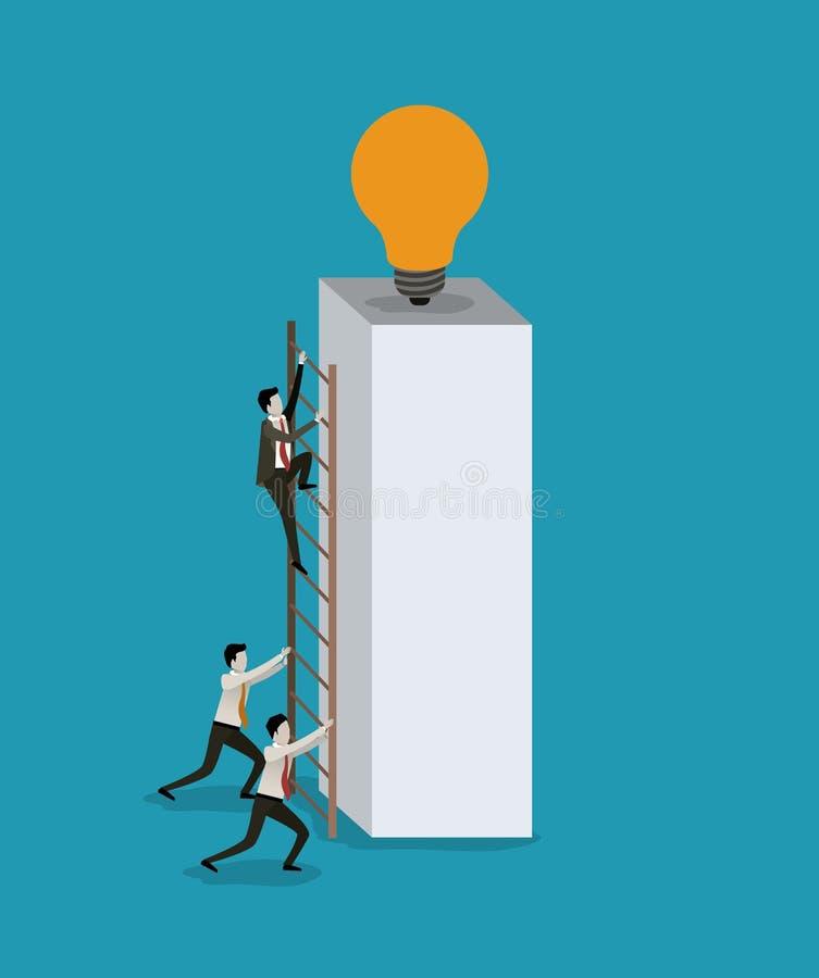 Färga bakgrund med affärsmän som klättrar trätrappa i ett stort rektangulärt kvarter med den ljusa kulan i överkanten stock illustrationer