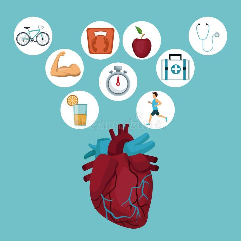 Färga bakgrund med hjärtaorganet och symboler i rund ram med vård- beståndsdelar vektor illustrationer