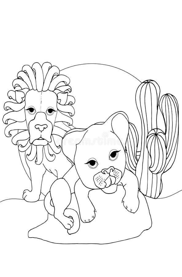 Färga barn, djur och barndjur, lejon royaltyfri illustrationer