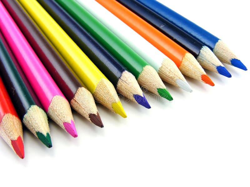 färga blyertspennarad royaltyfri fotografi