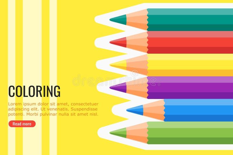 Färga blyertspennavektorn och bakgrund vektor illustrationer