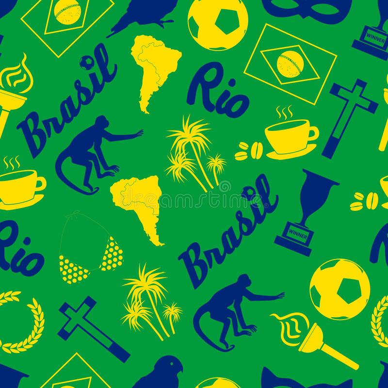 Färga Brasilien symboler och den sömlösa modellen eps10 för symboler vektor illustrationer