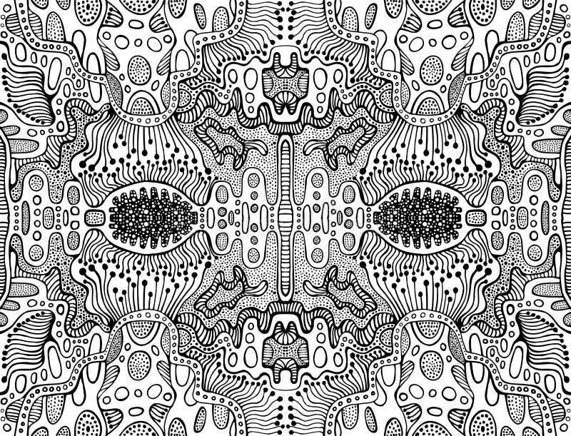 Färga den abstrakta fractalmodellen för sida, labyrint av prydnader Psykedeliskt stilfullt kort Antistress vektorillustration stock illustrationer