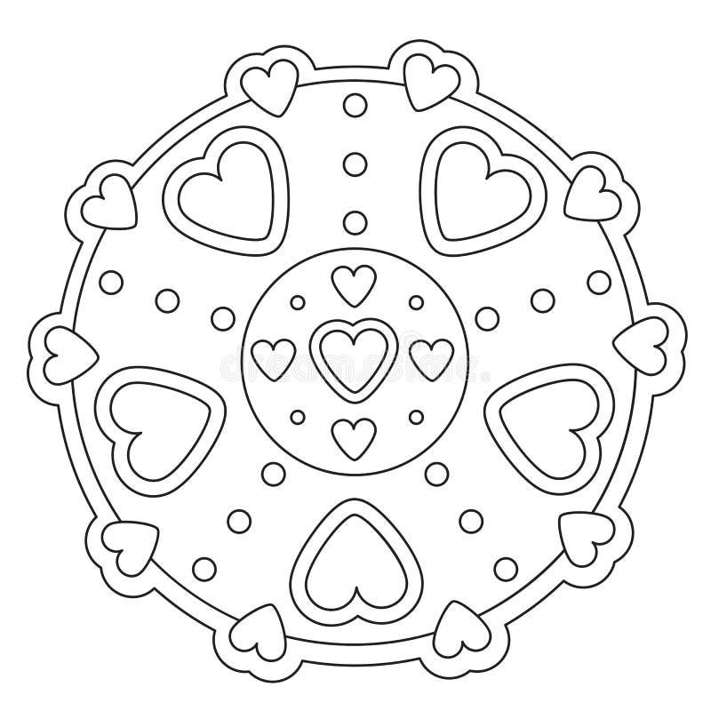 Färga den enkla hjärtamandalaen stock illustrationer