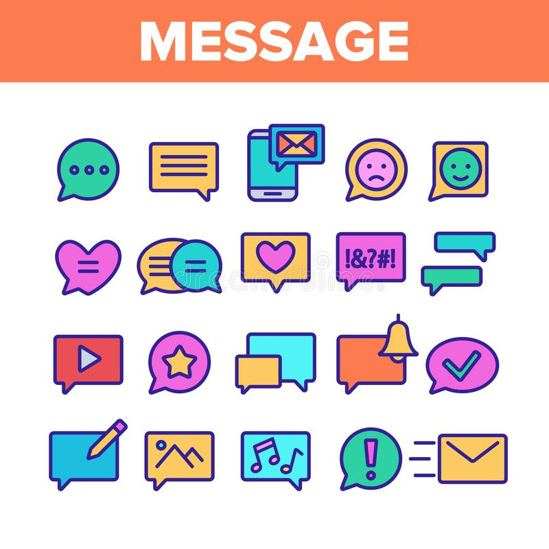 Färga den fastställda vektorn för olika SMS meddelandesymboler vektor illustrationer