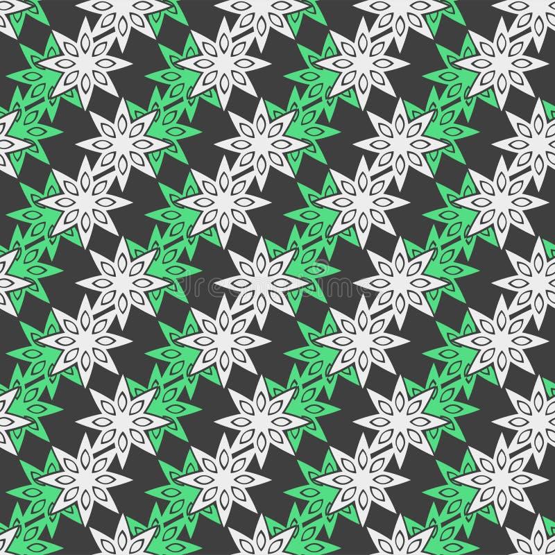 Färga den geometriska sömlösa modellen med åtta-pekade julstjärnor stock illustrationer