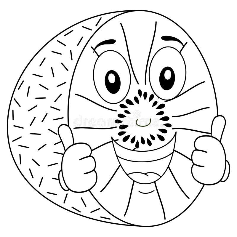 Färga den gladlynta kiwin med tummar upp vektor illustrationer