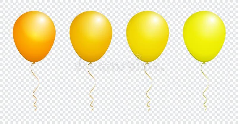Färga den glansiga gula ballongen som isoleras på vit i vektoruppsättning stock illustrationer