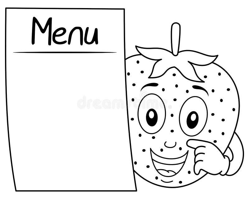 Färga den gulliga jordgubben med den tomma menyn stock illustrationer
