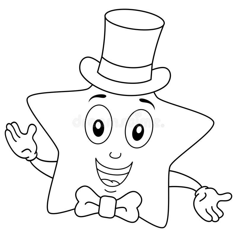 Färga den gulliga stjärnan med den bästa hatten och flugan royaltyfri illustrationer