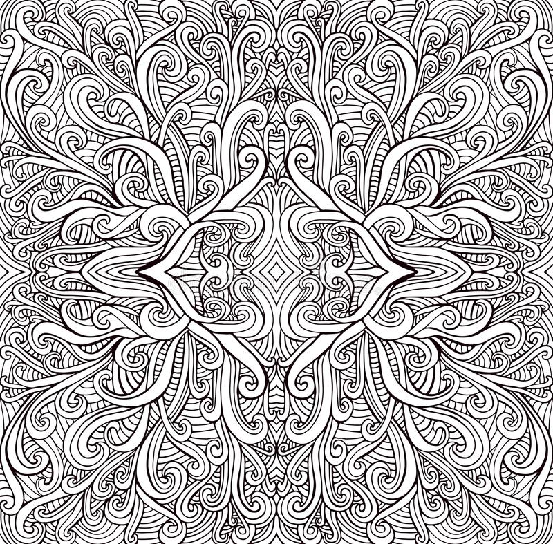 Färga den psykedeliska mandalaen för sidan, smyckar vågor Dekorativt stilfullt kort med fractal Antistress vektorillustration stock illustrationer