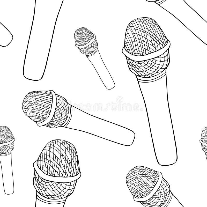 Färga den sömlösa modellmikrofonen för offentligt tala Vecto stock illustrationer