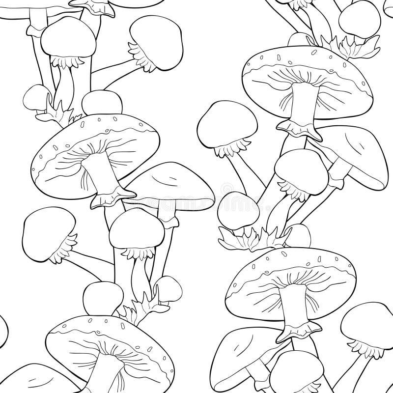 Färga den sömlösa svampen för agaric för modellchampinjonhonung vektor stock illustrationer