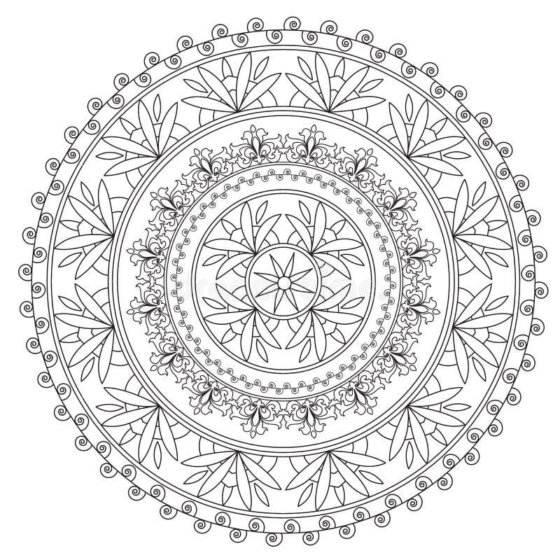 Färga den svarta etniska mandalaen stock illustrationer