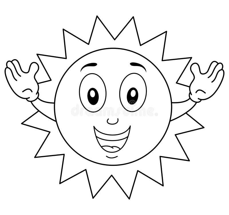 Färga det lyckliga sommarsolteckenet vektor illustrationer