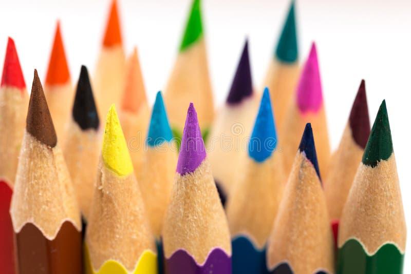 Färga för att vässa blyertspennor royaltyfri fotografi