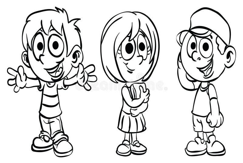 Färga ` för serie för unge för sida`-skola, stock illustrationer