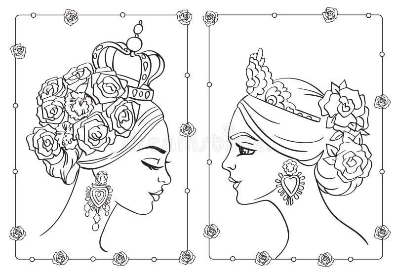 Färga frisyren med rosor och mäktiga örhängen stock illustrationer