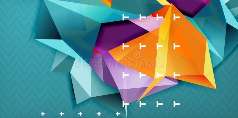 Färga geometrisk abstrakt bakgrund, minsta abstraktiondesign med form för mosaikstil 3d royaltyfri illustrationer