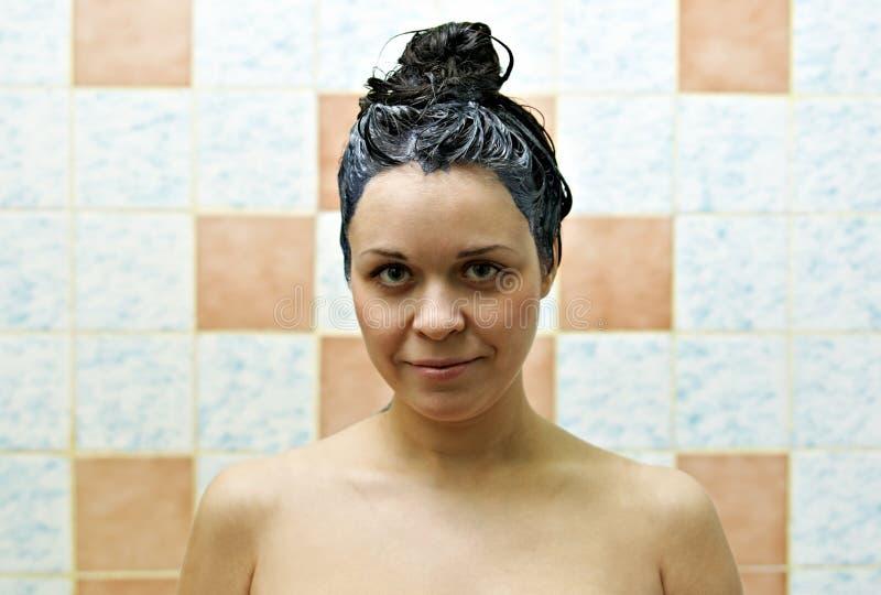 färga hårkvinnan arkivfoton