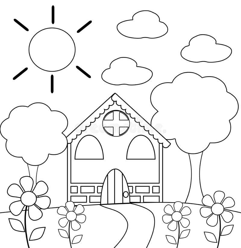 Färga huset stock illustrationer