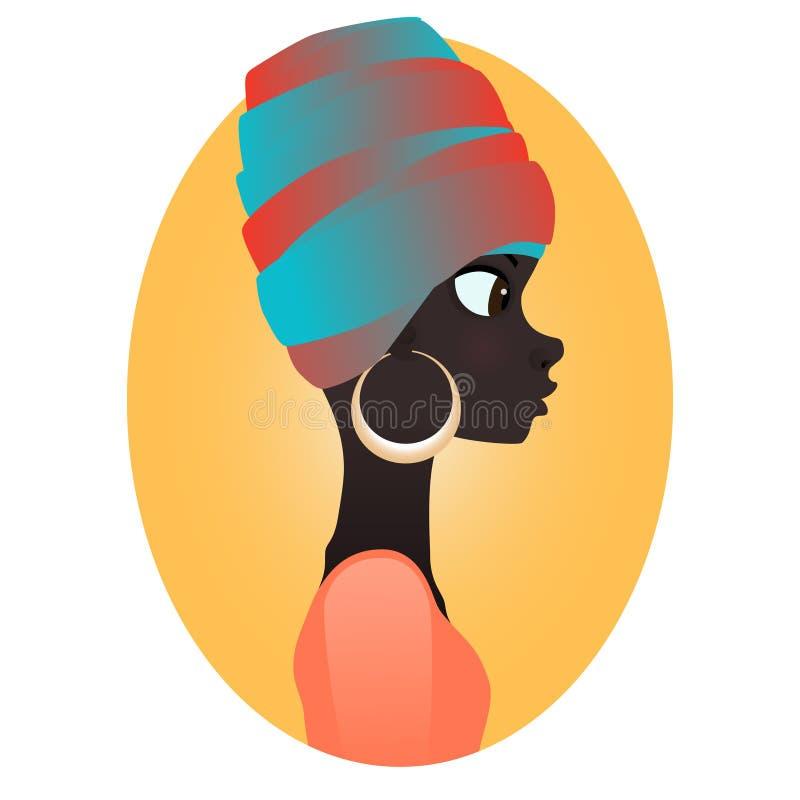 Färga konturn av den afrikanska flickan i profil med örhängen stock illustrationer