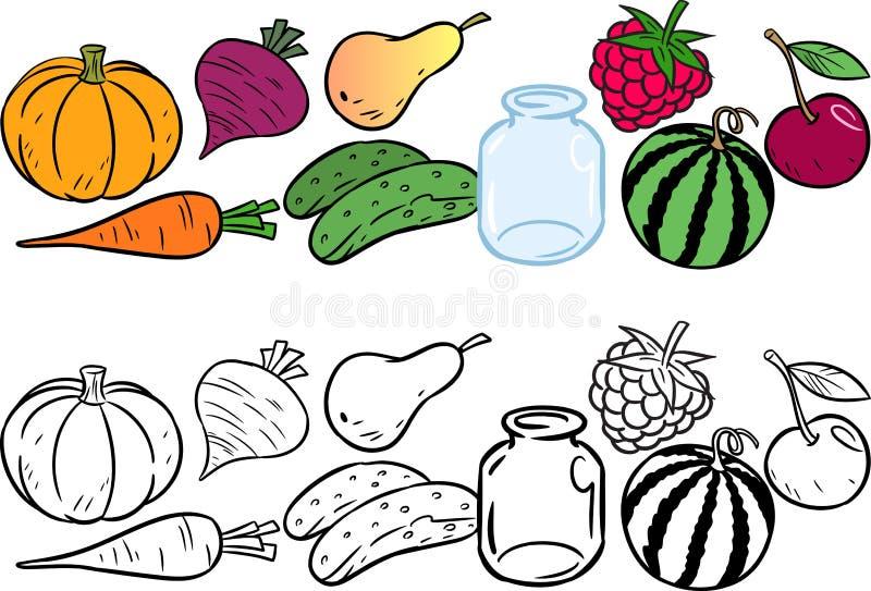Färga med grönsaker och frukter royaltyfri illustrationer