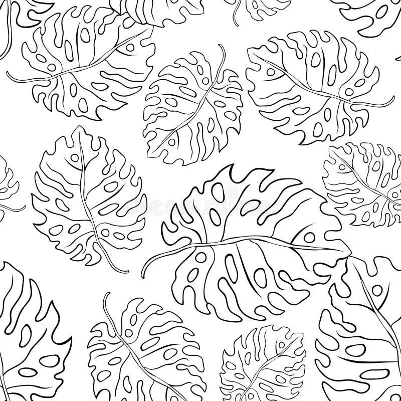 Färga naturliga tropiska palmblad för sömlös modell vektor stock illustrationer