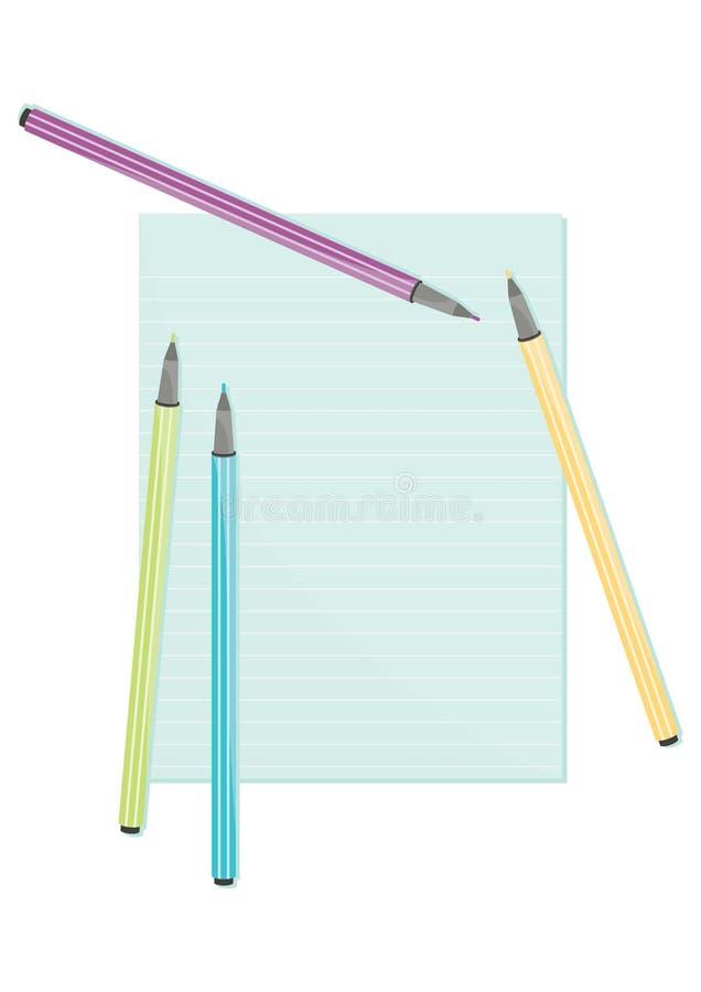 Färga pennor och pappers- skrivande material för anmärkning stock illustrationer