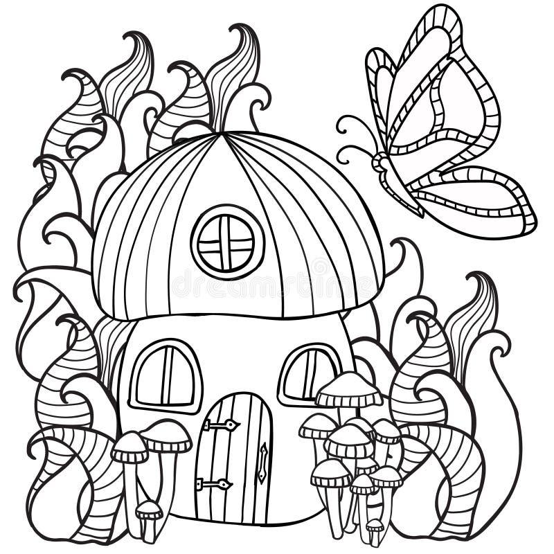 Färga plocka svamp sidor huset med en fjäril i för royaltyfri illustrationer