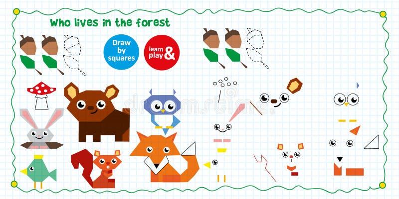 färga pusslet för ungar Dra invånare av skogen och deras mat enligt mall Använd den prickiga linjen och följ stock illustrationer