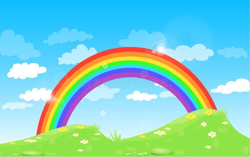 Färga regnbågen med molngräs och blommor, med blå himmel för lutningen stock illustrationer