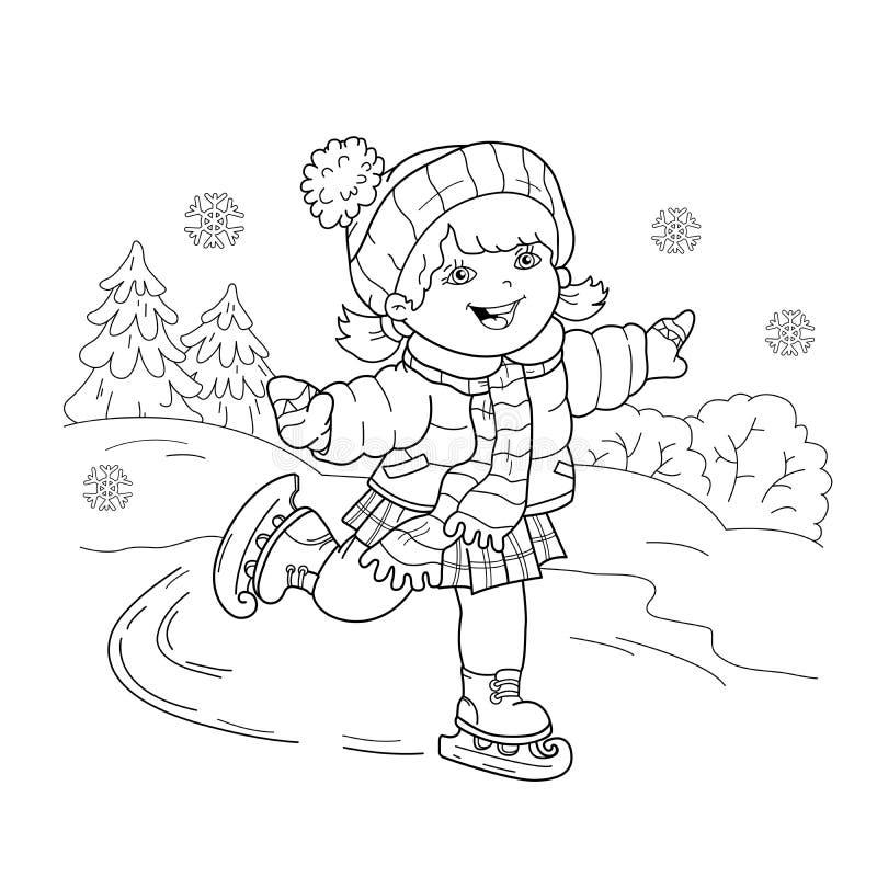 Färga sidaöversikten av att åka skridskor för tecknad filmflicka den kiting floden skidar snöig sportvinter royaltyfri illustrationer