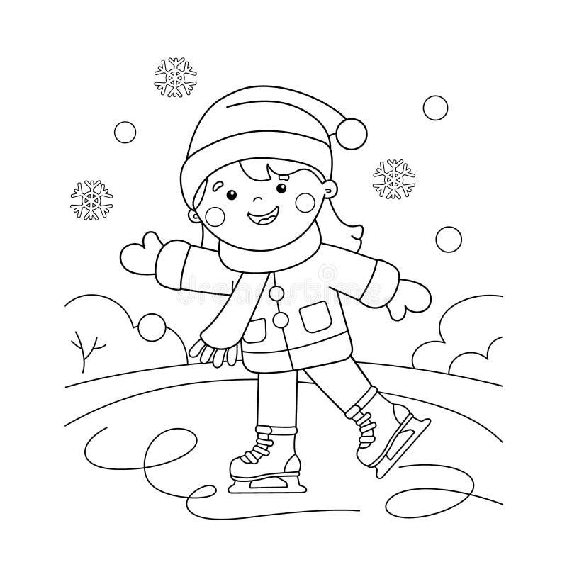 Färga sidaöversikten av att åka skridskor för tecknad filmflicka den kiting floden skidar snöig sportvinter Färgläggningbok för u stock illustrationer