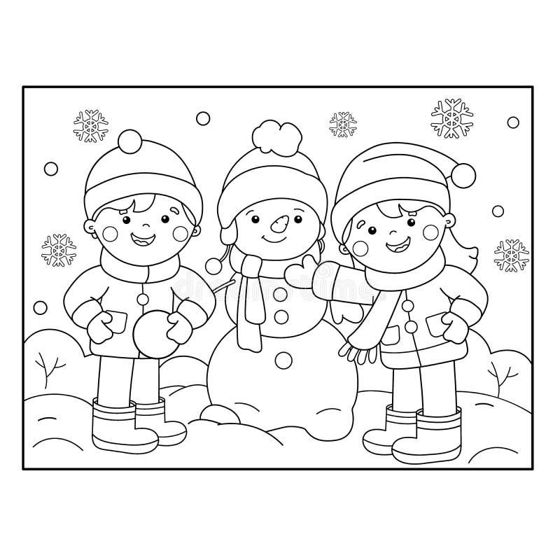Färga sidaöversikten av att åka skridskor för tecknad filmflicka den kiting floden skidar snöig sportvinter Färgläggningbok för u royaltyfri illustrationer