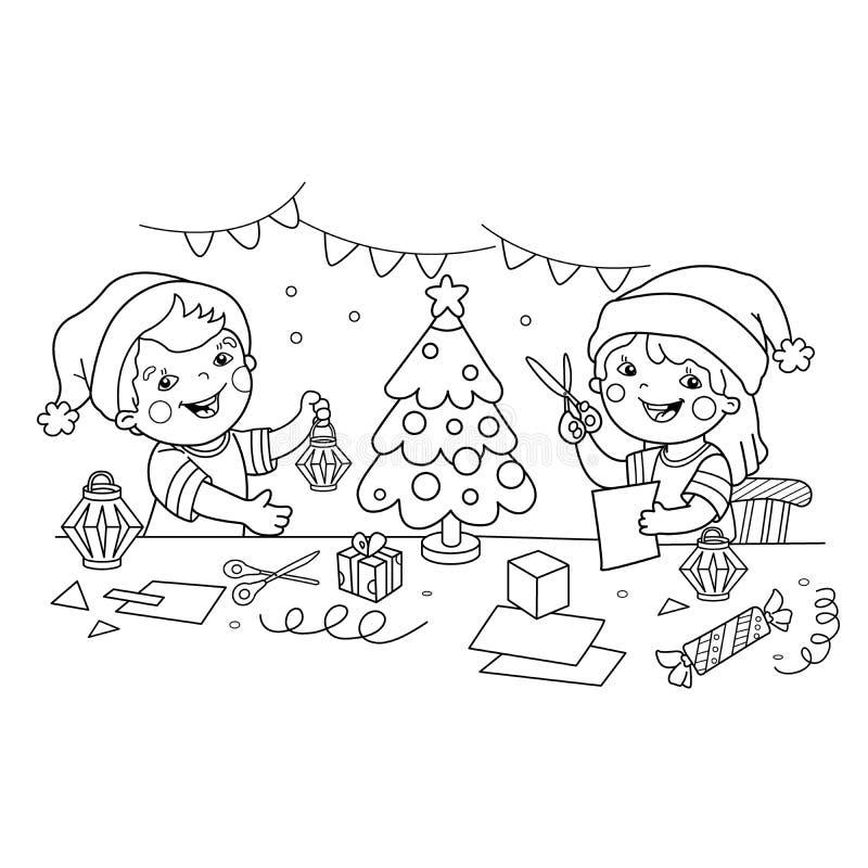 Färga sidaöversikten av barn gör pappers- jullyktor Jul nytt år Färgläggningbok för ungar stock illustrationer