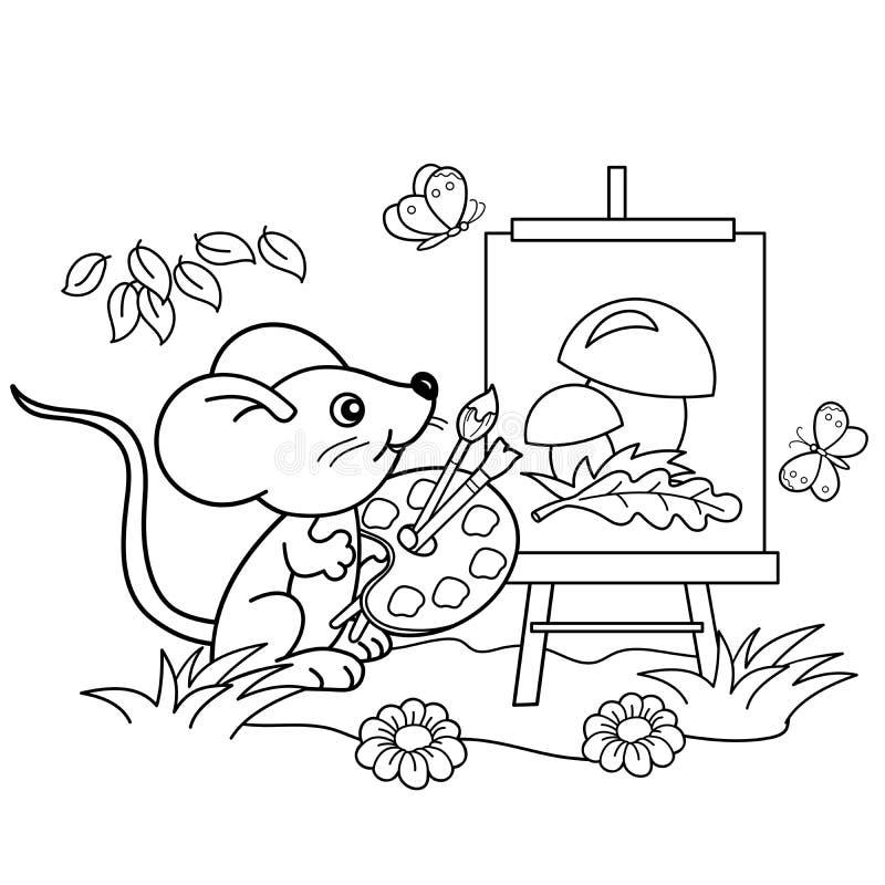 Färga sidaöversikten av den lilla musen för tecknad film med bilden av champinjoner med borsten och målarfärger i ängen med fjäri vektor illustrationer