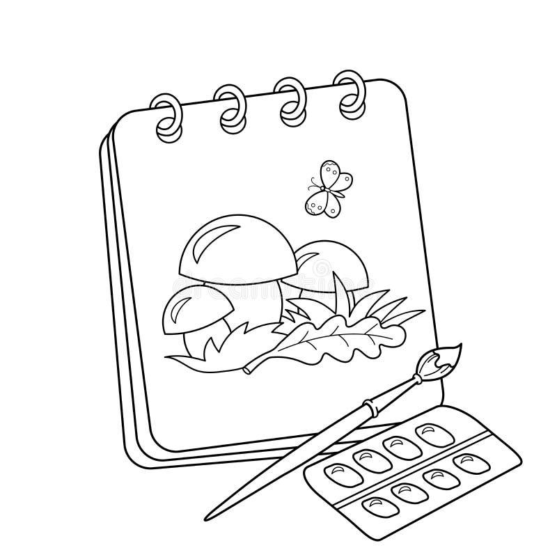 Färga sidaöversikten av den tecknad filmalbumet eller sketchbooken med borsten och målarfärger Teckning av champinjoner Färgläggn stock illustrationer