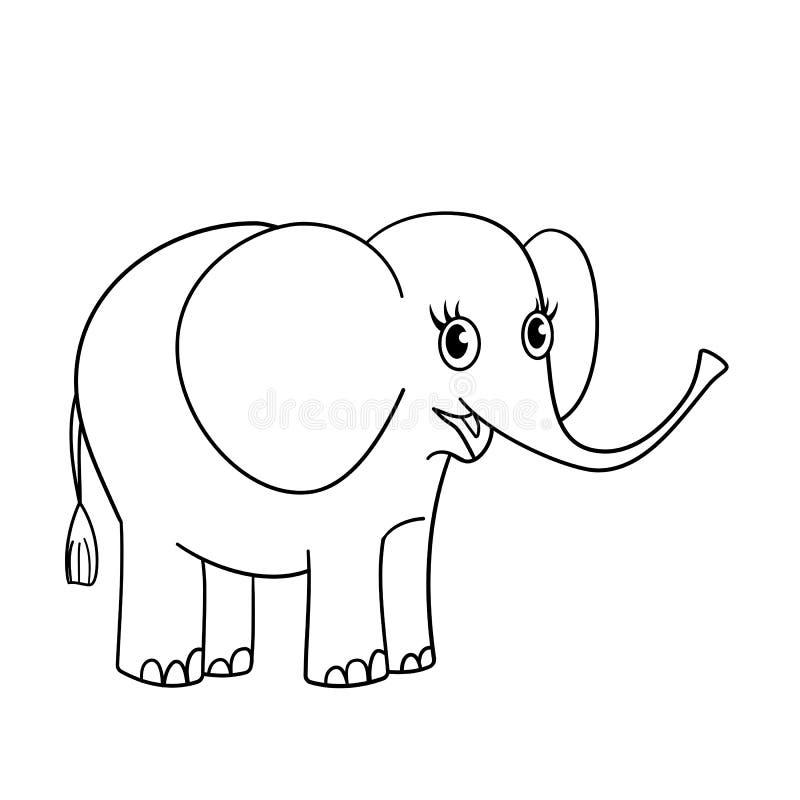 Färga sidaöversikten av den trevliga lilla elefanten royaltyfri illustrationer