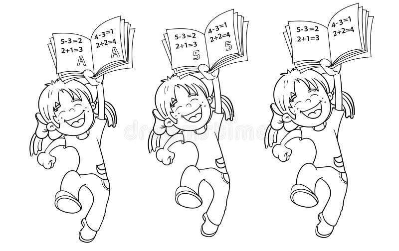 Färga sidaöversikten av en tecknad filmbanhoppningflicka stock illustrationer