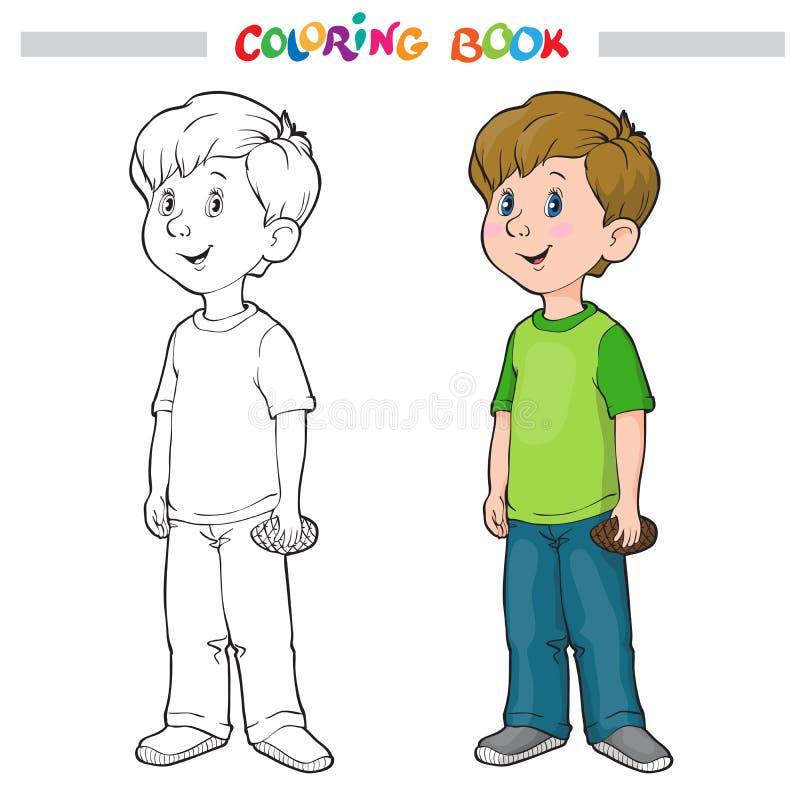 Färga sidaöversikten av en tecknad filmpojke royaltyfri illustrationer