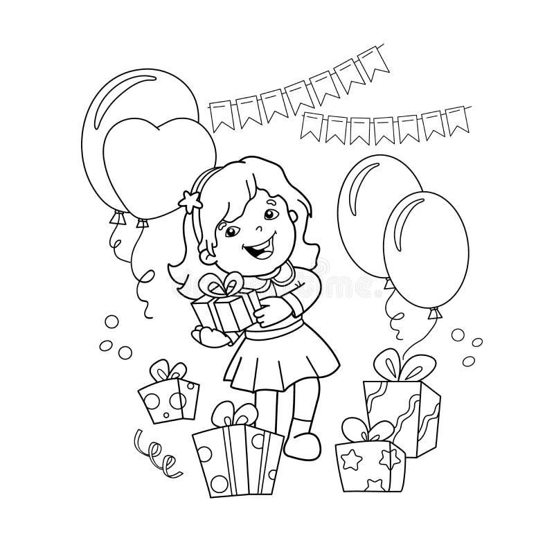 Färga sidaöversikten av tecknad filmflickan med en gåva på ferien Färgläggningbok för ungar royaltyfri illustrationer