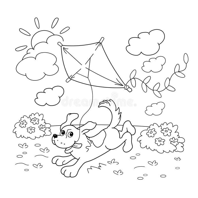 Färga sidaöversikten av tecknad filmhunden med en drake för färgläggningdiagram för bok färgrik illustration stock illustrationer