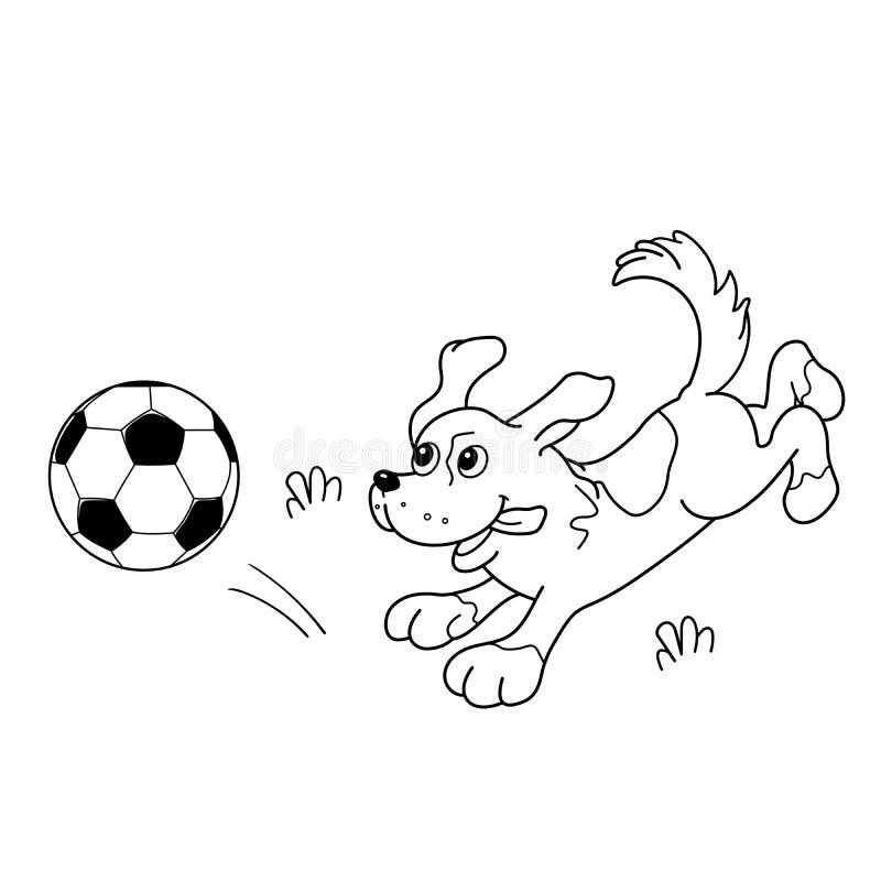 Färga sidaöversikten av tecknad filmhunden med fotbollbollen stock illustrationer