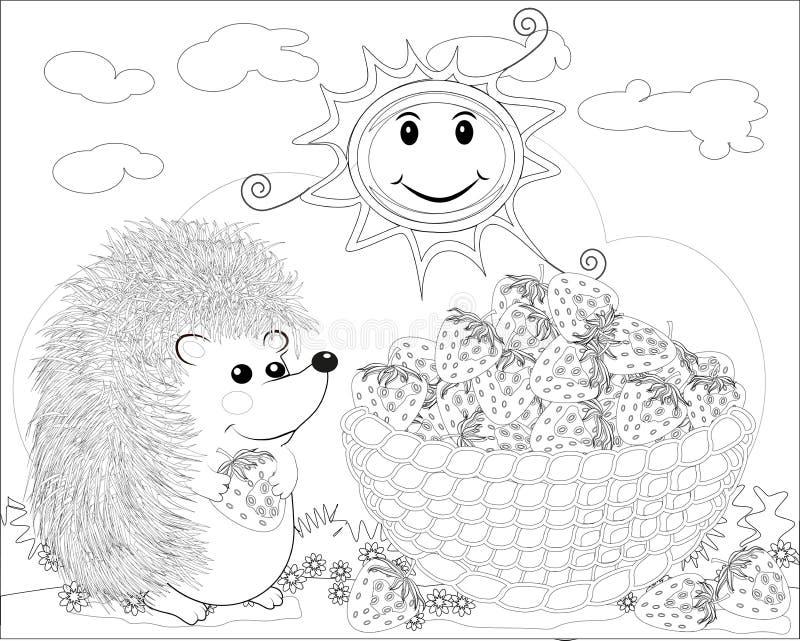 Färga sidaöversikten av tecknad filmigelkotten med jordgubben vektor illustrationer
