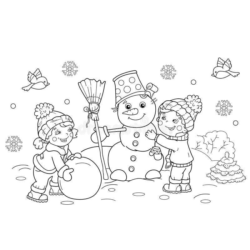 Färga sidaöversikten av tecknad filmpojken med flickadanandesnögubben stock illustrationer