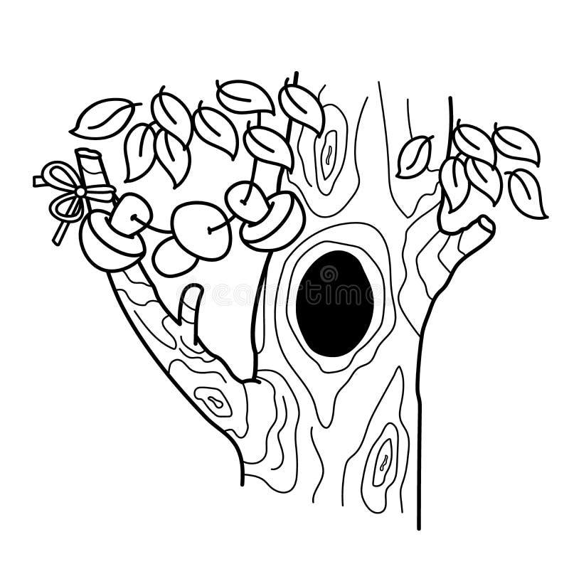 Färga sidaöversikten av tecknad filmträdet med en fördjupning Hem eller boning för ekorrar stock illustrationer