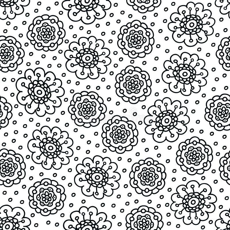 Färga sidablommamodellen Sömlös hand dragen bakgrund för färgläggningbok svart white vektor illustrationer