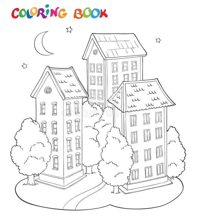 Färga sidaboken för ungar - hus med träd och månen royaltyfri illustrationer